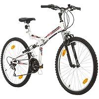 Multibrand, FOLDING FSP 26, 26 Pollici, 457mm, Mountain Bike Pieghevole, 18 Velocità, Full Suspension, Unisex, 26x18 (Bianco/Nero-Rosso)