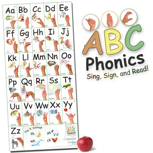 ABC Phonics: Sing, Sign, and Read! - Big ASL Vertical Wall Poster - 36 by 17 inches Wide - Laminated (Asl-diagramm)