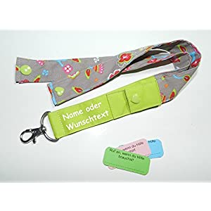 Schlüsselband SOS personalisierbar lang Geschenk für Schulkinder, Kinder...