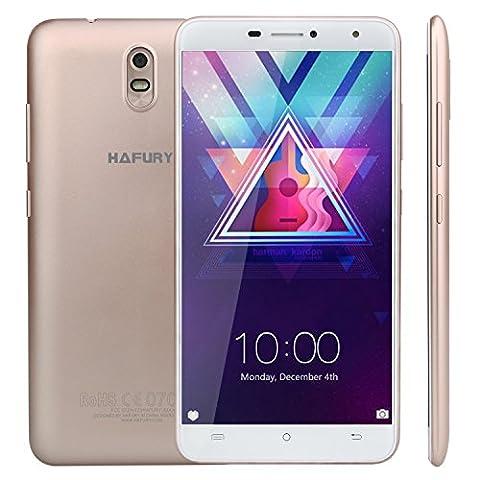Cubot HAFURY UMAX (2017) Android 7.0 Nougat Smartphone ohne Vertrag 6 Zoll HD IPS Touch Dispaly mit 4500 mAh Akku, Dual SIM, 2GB Ram+16GB interner Speicher, 13MP Hauptkamera / 5MP Frontkamera, 2.5D gebogenes Kapazitiver Bildschirm, nutzbares GPS, Benachrichtigung LED, Gold