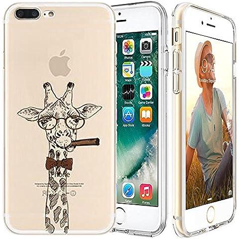 iPhone 7 plus Custodia,Apple iPhone 7 plus (5.5 inch) Custodia,Richoose iPhone 7 plus TPU [Slim Fit] Cancella TPU Gel Della Gomma Custodia Protettiva,Cassa del Respingente Crystal Clear Trasparente Custodia Protettiva per iPhone 7 plus 5.5 inch - Giraffa