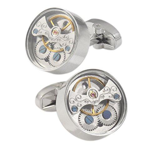 Prettyia 1 Paar Manschettenknöpfe aus Kupfer Uhrwerk Muster Herren Schmuck Zubehör Geschenk - Silber