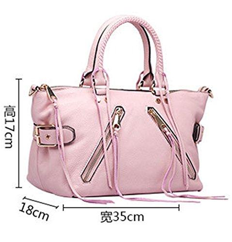 Xinmaoyuan borse Donna Donna spalla singolo croce obliqua Bag Zipper locomotiva capacità grande borsa in pelle in stile retrò borsetta,rosso Rosa
