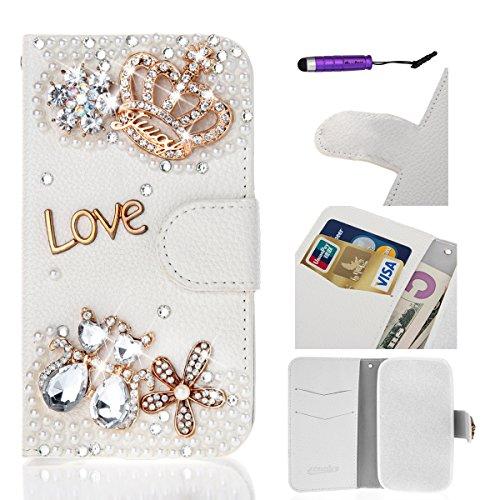 Flip Cover per Apple iPhone 6 / iPhone 6S 4.7 inch, Moonmini® Custodia Wallet a Portafoglio Libro in PU Pelle con 3D Brillantini Diamante Glitter, Stand, Slot & Chiusura Magnetica