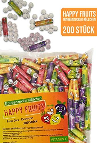 Restpostencenter bunte Traubenzucker Röllchen mit Fruchtgeschmack - Kamelle, Wurfmaterial für Karneval, 200 Stk.