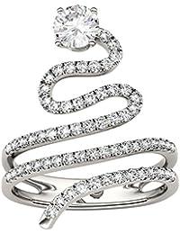 2e32010d804f Charles   Colvard Forever Brilliant anillo grande - Oro blanco 14K -  Moissanita de 5 mm