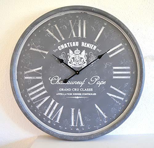 Deko Wanduhr Uhr XXL Chateauneuf grau Big Watch Vintage Trenduhr Küchenuhr !!!! ca. 79cm Durchm. !!!! Wohn