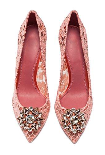 uBeauty - Tacchi alti sexy del merletto - Magnifico Scarpe col Tacco - Tacchi di nozze - Scarpe da sposa Rosa chiaro