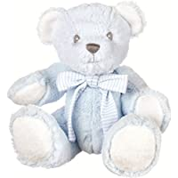 Suki Baby Hug-a-Boo Super Soft Plush Bear with Rattle in Tummy and Striped Cotton Bow (Small, Blue)