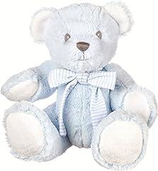 Idea Regalo - Suki Baby Hug-A-Boo 10082 - Piccolo Orsacchiotto Di Peluche, 17.8 Cm, Azzurro Con Fiocco Di Cotone A Righe E Sonaglio Nella Pancia.