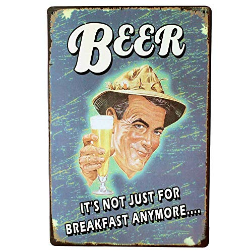 PotteLove Beer It's Not Just for Breakfast Anymore Vintage Metal Signs Tin Plaques Wall Poster for Garage Man Cave Beer Cafee Bar Pub Club Home Decor