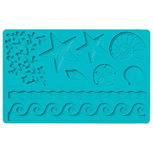 Wilton Fondant und Gum Paste Mold Sea Life Silikonform, Silikon, blau, 12 x 25 x 0,5 cm -