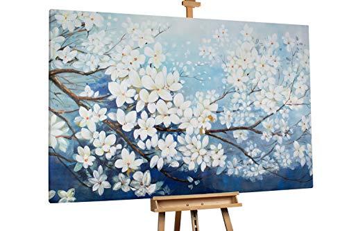 'Thriving Branches' 180x120cm | Blüten Frühling Weiß Blau | Modernes Kunst Ölbild