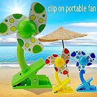 Tragbarer Kinderwagen-Ventilator für Babys, Mini-Clip auf Kinderwagen, Grün