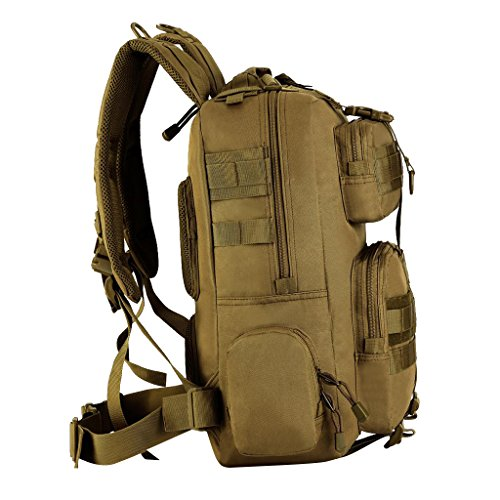 Gazechimp 30L Rucksack, Erwachsene Taktischer Rucksack Trekkingrucksack Outdoor Wanderrucksäcke für Camping Wandern Reisen Radfahren, Sport Backpack Braun