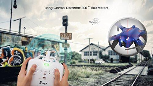 DROCON Bürstenlose Drohne Quadrocopter Bugs 3 (Action Kamera Halterung, Langer Steuerabstand)blau - 5