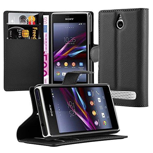 Cadorabo Hülle für Sony Xperia E1 - Hülle in Phantom SCHWARZ – Handyhülle mit Kartenfach und Standfunktion - Case Cover Schutzhülle Etui Tasche Book Klapp Style