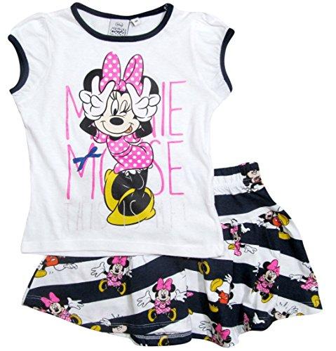 Minnie Mouse Set Kollektion 2017 T-Shirt und Rock 92 98 104 110 116 122 128 Mädchen Bekleidungsset Sommer Neu Maus Disney (98 - 104, Weiß-Blau) (Minnie Rock)