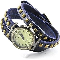 Armbanduhren Quarz Analog Römischen Ziffern Leder Modeschmuck Uhr Damen rund Nägel Paige Blau Geschenk Unisex