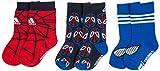 adidas Marvel Avengers Spiderman Kindr Socken 3er Pack Rot Blau Schwarz, Farbe:Mehrfarbig, Größe:23-26