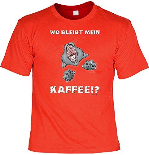 Witziges Spaß-Shirt + gratis Fun-Urkunde: Wo bleibt mein Kaffee? Rot