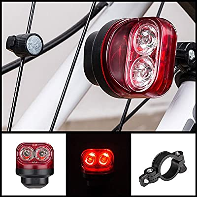 AMH-LED Fahrradbeleuchtung,Wasserdicht Hinten Fahrrad-Licht , Magnetische Induktion Fahrradlicht, Led Mountainbike, 50mAh Lithium-Batterie, 2 XPE LED,Energie Sparen
