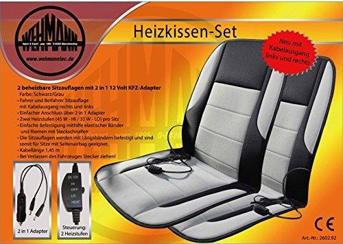 Kfz Heizkissen Autoheizkissen Set 2-teilig Neuheit Fahrer und Beifahrer Kabelausgang rechts und links