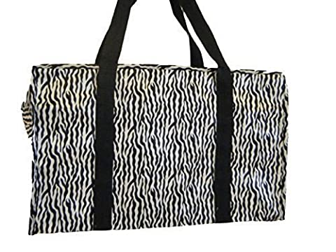 Black Animal Zebra Stripes Print Silky Style Ladies Shopping Over