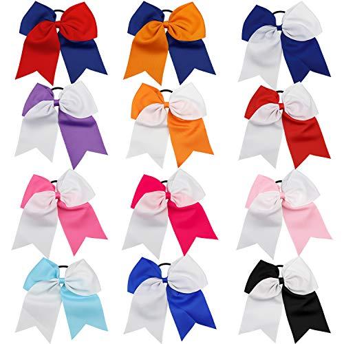 fe, Homgaty 12 Stück Elastische Haarbänder, Cheerleading Haarschleife, Verschiedene Farben Ripsband Schleife für Mädchen, Teenager, Kinder ()