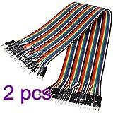 CAOLATOR 2pcs Câbles pour BreadBoard Femelle / Femele , couleur Dupont fils câbles pour Arduino Breadboard (40x 20cm)