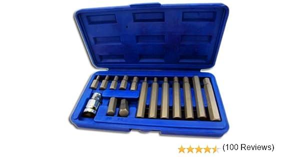 Toolzone HX036 1//2 pouces Dr Hex Bits avec Socket In Case-noir 15 pièces