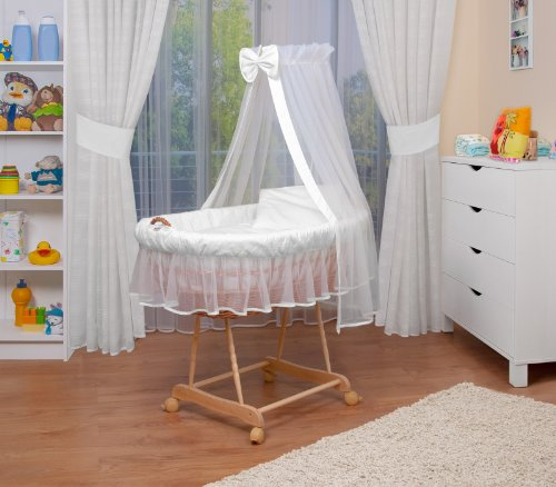 WALDIN Landau/berceau pour bébé complet,8 modèles disponibles,Cadre/Roues non traitée, couleur du tissu blanc