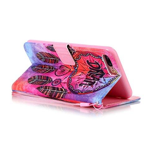 Felfy Hülle für iPhone 7 Plus 5.5 Zoll,iPhone 7 Plus Case,iPhone 7 Plus Cover PU Ledertasche Strap Flip Standfunktion Magnetverschluss Luxe Bookstyle Ledertasche Nette Retro Mode Painted Muster Abdeck Dream case