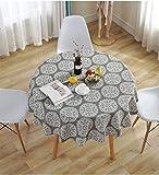 Meiosuns Runde Tischdecke Grey Retro Tischdecken Baumwolle Leinen Tischdecke Geeignet für Home Küche Dekoration, Verschiedene Größen (Durchmesser 120 cm)