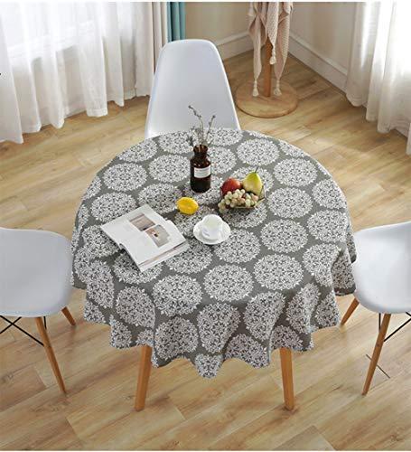 Meiosuns Runde Tischdecke Grey Retro Tischdecken Baumwolle Leinen Tischdecke Geeignet für Home Küche Dekoration, Verschiedene Größen (Durchmesser 120 cm) (Große, Runde Tischdecken)