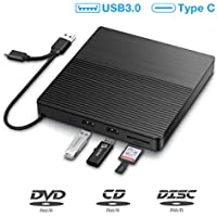SAWAKE Grabadora DVD/CD Externa, USB 3.0 Tipo C Lector de CD Externa Portátil con Lectore de Tarjetas SD/TF, Disquetera External Drives Óptico CD DVD +/-RW para Window XP/7/8/10, Macbook etc