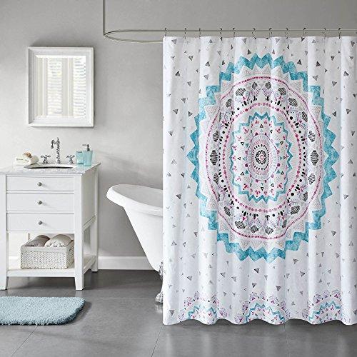 Comfort Spaces Komfort Räume Blaugrün/Rosa/Weiß/Grau Vorhang für die Dusche-Ari Vorhänge Dusche für Badezimmer in Bedruckter Medaillon Design-182,9x 182,9cm