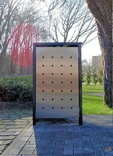 BBT@ | Premium Mülltonnenbox für 1 Tonne je 240 Liter Grau / Front-Edelstahl/ Vollverzinkte Bleche...