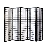 Homestyle4u 166, Paravent Raumteiler 5 teilig, Holz Schwarz, Reispapier Weiß, Höhe 175 cm