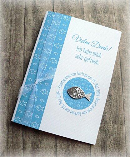 Danksagung Danksagungskarte Danke Kommunion Konfirmation Taufe Fisch silber blau türkisblau