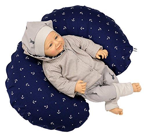 Sharlene Mini- Stillkissen aus Baumwolle mit Bezug - Schadstoffgeprüftes Lagerungskissen - Mikro-Perlen Baby Kissen - Seitenschläferkissen (120 cm, Dunkelblau)