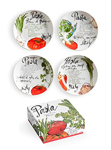 Pasta Italiana Set of 4 Dipping Dishes, Porcelain, White, S
