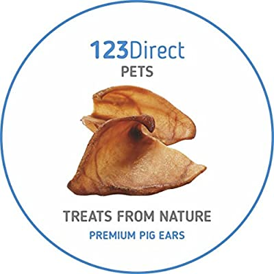 Premium | Higher Welfare | 50 Pack Of Large Dried Pig Ears | Natural Raw Dog Chewing Treat Reward By 123 Direct Pets | Fantastic for all breeds and sizes