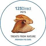 123 Direct Pets Altissima Qualità   Sostenibile   Confezione da 50 Orecchie di Maiale Essiccate Grandi   Snack Naturali da Mordere per Cani, Produzione EU   NON Importate dalla Cina!
