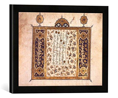 """Gerahmtes Bild von Buchmalerei Suren des Koran/Buchmal.arab./1389"""", Kunstdruck im hochwertigen handgefertigten Bilder-Rahmen, 40x30 cm, Schwarz matt"""