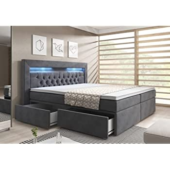 boxspringbett 160x200 grau samt bettkasten inklusive topper led kopfteil. Black Bedroom Furniture Sets. Home Design Ideas