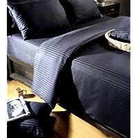 Homescapes Sábana encimera Confort con rayas de satén de color Negro 240 x 275 cm en 100% Algodón Egipcio densidad de 130 hilos/cm²