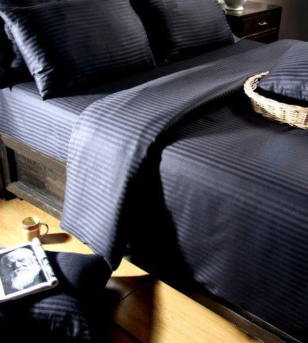 Homescapes Damast Spannbettlaken schwarz Spannbetttuch 180 x 200 cm 100% reine ägyptische Baumwolle Fadendichte 330 (Streifen-spannbetttuch Baumwolle Ägyptische)