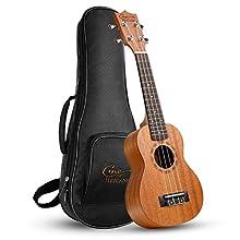 Hricane Soprano Ukulele UKM-1 21 Zoll Traditionelle Mahagoni Ukulele Hawaiische Gitarre mit Groß Tasche [Soprano]