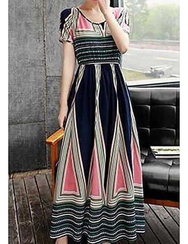 Frauen 's Ausschwenken Kleid, Blumenmuster Rundhals Maxi kurzarm Baumwolle Frühling Sommer Hochhaus Micro-Elastic Thin, L, Navy Blue gehen